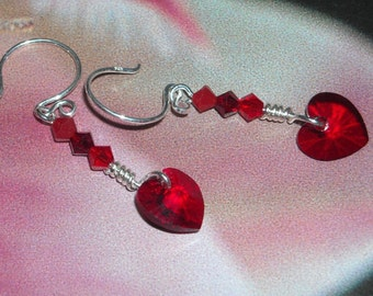 Swarovski Crystal Heart Earrings - Love At First Bite - Ruby July Fashion Earrings Wedding Graduation Handmade Silver Earrings Wire wrapped