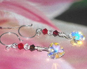 Swarovski Crystal Clear AB Heart Earrings Red - First Love - Fashion Accessory Red White Earrings Wedding Bridal Party Graduation Jewelry