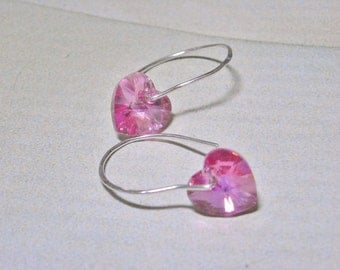 Rose Swarovski Crystal Heart Earrings - Love Pink - Crystal Bridal Earrings Jewelry Valentines Day Romance Dainty Handmade Earrings