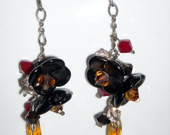 Glass Flower Swarovski Crystal Earrings CLEARANCE Czech Glass Brown Topaz Gold Fashion Earrings Handmade