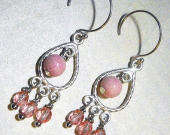 Pink Riverstone Crystal Sterling Silver Chandelier Earrings - Pink Teardrops - Silver Earrings Small Fashion Dangles Bubblegum Pink Candy
