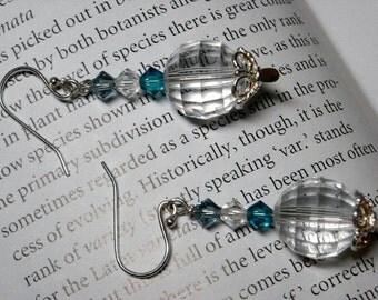 Swarovski Crystal Sterling Silver Earrings - Frozen - Crystal Handmade Earrings Bridal Jewelry Graduation Wedding Disco Ball Earrings