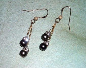 Green Pearl Earrings - Peacock Wedding - Pearl Dangle Earrings Bridal Earrings Olive Earrings Gold Earrings Graduation Gift Under 20