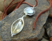 Touch of Elegance Necklace, Lemon Quartz, Freshwater Pearl, Sterling Chain