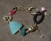 Valentines Heart Bracelet, Chalcedony Garnet, Rutilated Quartz, Rhodochrosite, Coral, Vermeil, Brass