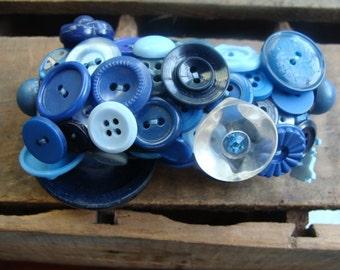 ON SALE Royal Blue Vintage Button Bracelet
