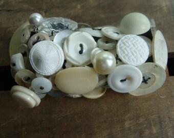 ON SAL White Vintage Button Bracelet