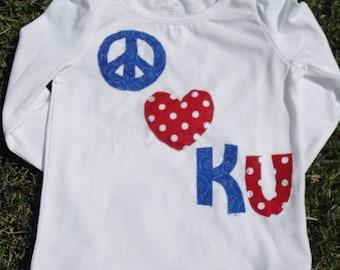 Peace love KU....KU Jayhawk fans shirt