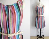 VINTAGE 70s Candy Striped Beach Coverup Dress - One Size