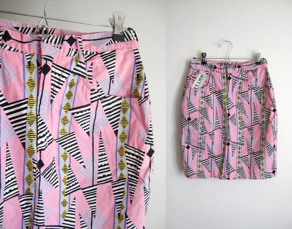 Vintage 90s Candy Pink Geometric Shapes Skirt - M