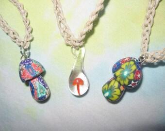 Hemp necklace etsy hemp necklaces mushroom lot of 3 fimo glass pendant shrooms red psychedelic aloadofball Images