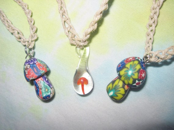 Hemp Necklaces Mushroom lot of 3 Fimo & Glass Pendant SHROOMS - Red, Psychedelic
