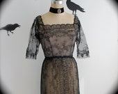 Dead Stock Black French Chantilly Lace Cocktail Party Dress, 1930s Vintage