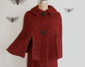 Vintage 50's Cape and Skirt Set - Tweed Capelet - Small
