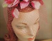 Vintage 1950's  Silk Roses Dead-Stock Fascinator