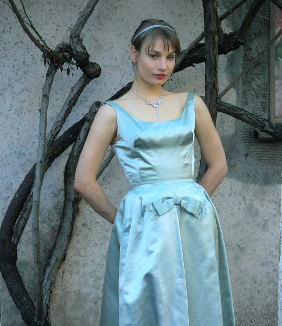 1950s Vintage Ball Gown in Baby Blue Green Peau de Soie - RESERVED for Jaclyn