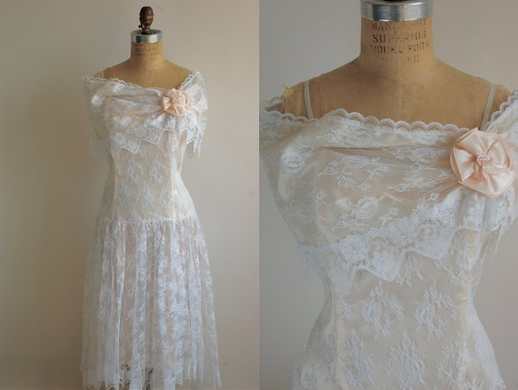 White Lace Cocktail Dress, 80s Vintage