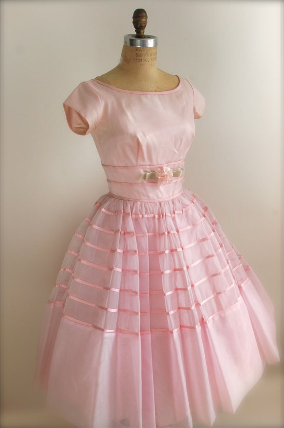 Vintage 1950s Prom Dress Pink Cocktail Dress Bridesmaid