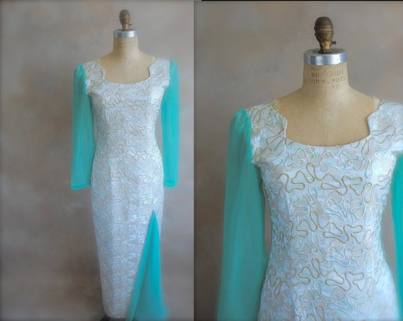 Vintage '60's Brocade and Silk Party Dress - Small