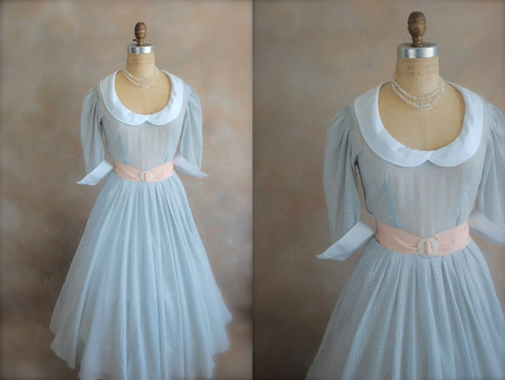 Vintage 80s Party Dress - 50s Revival - Polka Dot Delight - Small