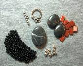 Black Jasper Czech Glass Pewter Pendant Focal Bead Kit DIY