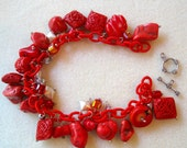 Cinabar Coral Silver Charms Glass Bracelet Beads Kit DIY