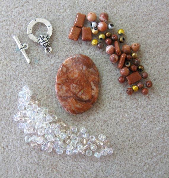 Red Flame Jasper Goldstone Glass Focal Pendant Beads Kit DIY