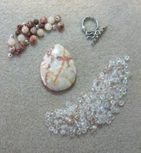 Red Vein Jasper Aventurine Glass Pendant Focal Beads Kit DIY