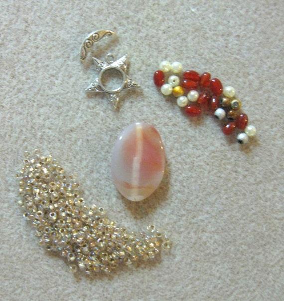 Sunrise Agate Carnelian Silver Pewter Czech Focal Pendant Beads Kit DIY
