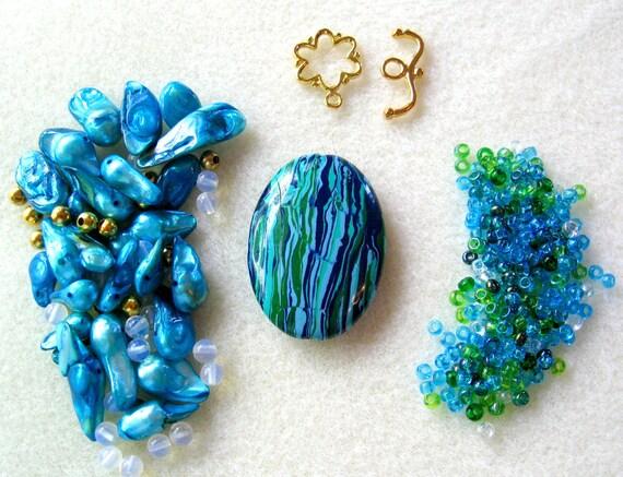Blue/Green Calsilica Pearls Opalite Czech Glass Gold Pendant Focal Beads Kit DIY
