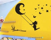 Girl Swing on moon stars----Removable Graphic Art wall decals stickers home decor