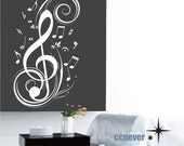 music note flying 40inch----Removable Graphic Art wall decals stickers home decor