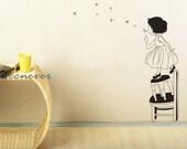 40inch H Dandelion girl Flowers Kids Nursery----Art Vinyl wall decals stickers home decor