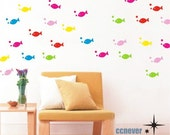 5color 100pcs little fish----Removable Graphic Art wall decals stickers home decor