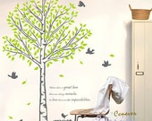 Huge spring tree grass flying birds----Removable Graphic Art wall decals stickers home decor