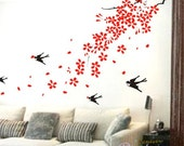 spring tree leaves flying birds-----Removable Graphic Art wall decals stickers home decor