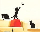 Cute 3 Cats Kitten palying----Removable Graphic Art wall decals stickers home decor