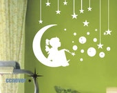 Angel Girl On Moon Stars Bubbles----Removable Graphic Art wall decals stickers home decor