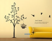 38INCHES H Bird Tree Love Secret----Removable Graphic Art wall decals stickers home decor
