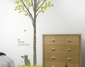 Sweet Cat Under Garden Tree 72inch H----Removable Graphic Art wall decals stickers home decor