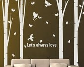 4 Huge Birch Tree Birds----Removable Graphic Art wall decals stickers home decor