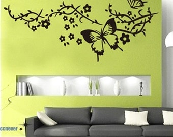 butterfly floral art home decor Vinyl wall stickers mural decals