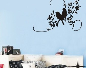 2 Little Birds on tree flower----Removable Graphic Art wall decals stickers home decor