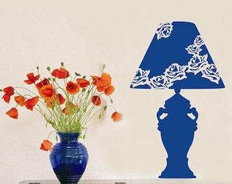 Beauty flower table lamp art home decor wall stickers Vinyl mural decals