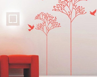 abstract tree flowers birds----Removable Graphic Art wall decals stickers home decor