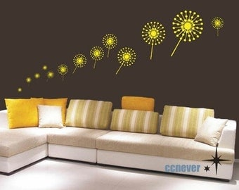 abstract 20pcs dandelion flowers----Removable Graphic Art wall decals stickers home decor