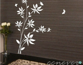 45inch H flowers butterfly----art Graphic removable Vinyl wall stickers mural decals
