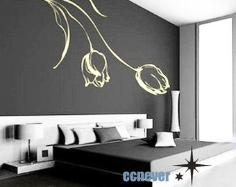 amazing 36inch tulip flowers----Removable Graphic Art wall decals stickers home decor