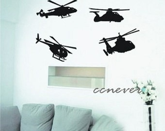 4 sets airplane helicopter----Removable Graphic Art wall decals stickers home decor