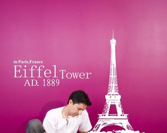 Paris Eiffel Tower 40inch H----Removable Graphic Art wall decals stickers home decor